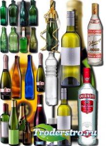 Клипарты для фотошопа на прозрачном фоне - Бутылки из стекла