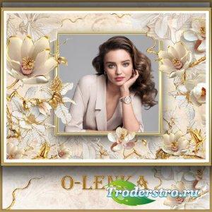 Рамка для фотошопа - Золотые расцвели весной цветы