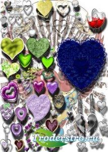 Клип-арты на прозрачном фоне - Сердечки любви