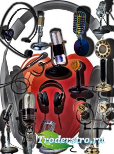 Клипарты для фотошопа - Наушники и микрофоны