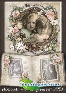 Шаблон винтажной фотокниги для фотошопа - Старый семейный альбом
