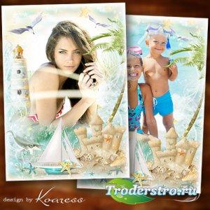 Семейная, детская рамка для летних фото с моря - Волна морская, шум прибоя