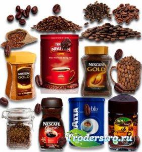 Растровые клип-арты - Кофе в зернах и емкостях