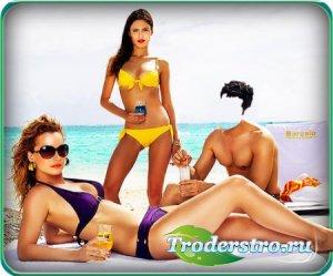 Фотошаблон для фотошопа - На пляже с моделями