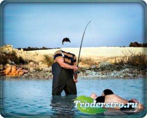 Шаблон psd - Необычная рыбалка
