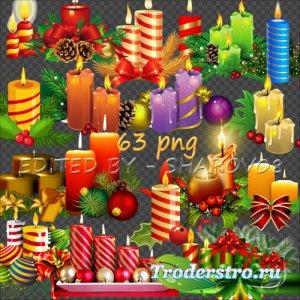Клипарт на прозрачном фоне - Рождественские свечи