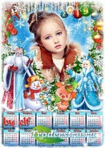 Новогодний календарь с символом 2019 года Свинкой - Снежная сказка