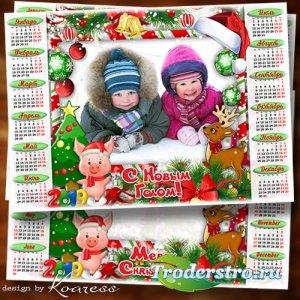 Зимний календарь-рамка на 2019 год Свиньи - Ждем мы чудо, ждем мы праздник, ...