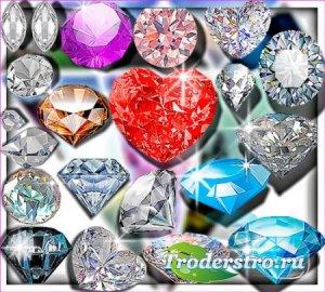 Клипарты без фона - Разноцветные бриллианты