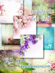Подборка весенних фонов для открыток и коллажей