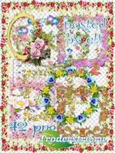 Клипарт для фотошопа - Разнообразные рамки с цветами