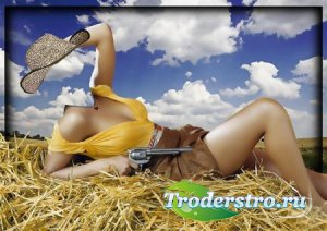 Фотошаблон для фотошопа - Девушка ковбой