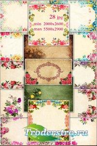 Vintage backgrounds with flowers - Винтажные фоны с цветами