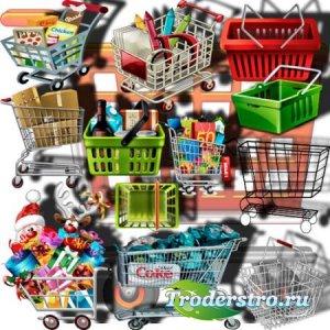 Растровые клипарты - Магазинные тележки и корзинки
