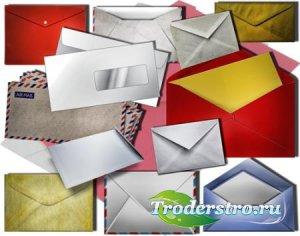 Прозрачные клипарты для фотошопа - Почтовые конверты