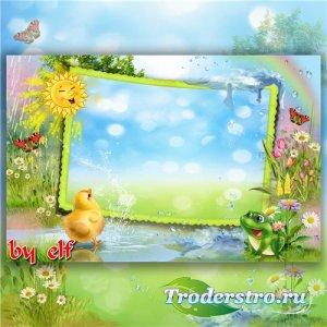 Рамка для детских фото - Дождик с самого утра зарядил, как из ведра