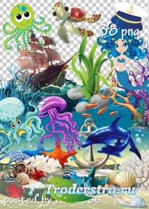 Морской летний клипарт png - Marine summer clipart for design