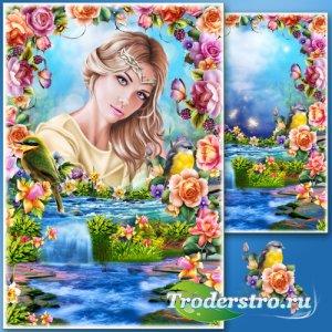 Рамка для Фотошопа - Сад с водопадом
