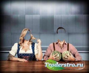 Фотошаблон psd - Два арбуза