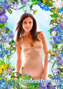 Рамка psd - Летняя цветочная композиция