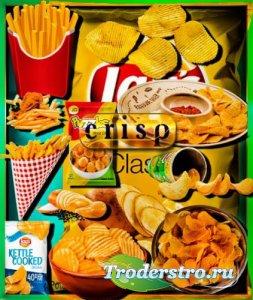 Прозрачные клипарты для фотошопа - Картофельные чипсы