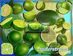 Клипарты на прозрачном фоне - Зеленый лайм