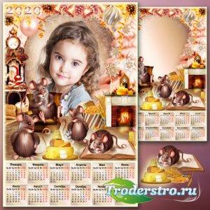 Новогодний календарь с рамкой для фото на 2020 год - Дружная семейка