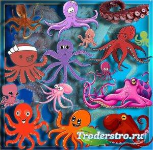 Клипарты на прозрачном фоне - Веселые осьминоги