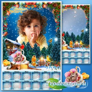 Новогодний календарь с рамкой для фото на 2020 год - Рождественские сны