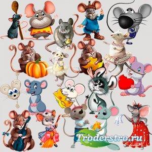 Клипарт для фотошопа - Мультяшные крысы и мыши