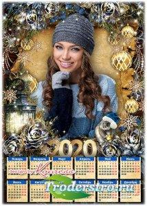 Праздничный календарь-фоторамка на 2020 с симпатичным символом года - Золот ...
