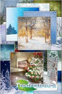 Зимние, новогодние фоны для дизайна - Winter and Christmas backgrounds for design