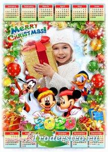 Праздничный детский календарь-рамка на 2020 год с героями мультфильмов Дисн ...