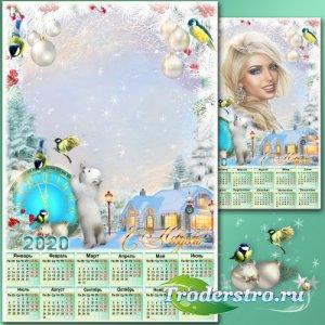 Праздничная рамка для фото с календарём на 2020 год - Новогодние истории 3