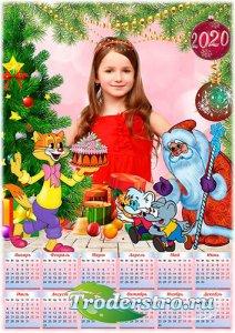 Детский календарь с рамкой на 2020 год - Календарь на 2020 год - Кот Леопол ...
