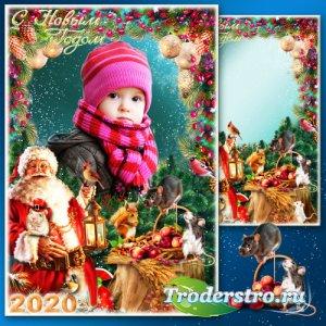 Новогодняя рамка для фото - Лесной праздник