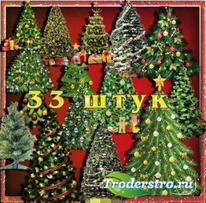 Клипарты без фона - Новогодние елки
