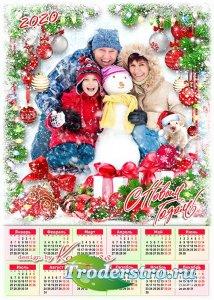 Праздничный календарь на 2020 год с символом года - Пусть искрится снег бле ...