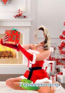 Шаблон для фотошопа снегурочки с подарками