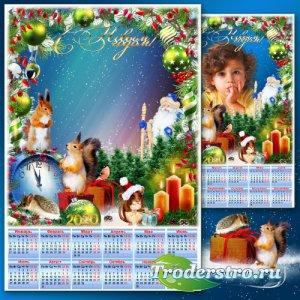 Праздничная рамка для фото с календарём на 2020 год - Новогодние истории 9