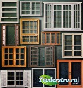Растровые клипарты для фоторамок - Деревянные окна
