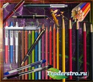 Клипарты на прозрачном фоне - Цветные карандаши и ручки