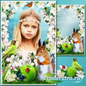 Весенняя рамка для Фотошопа - Яблоневый сад