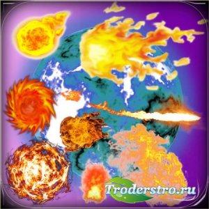 Клипарты без фона - Огненные шары