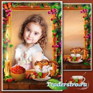 Рамка для фотошопа - Первые ягоды. Чай с лесной земляникой