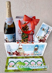 Шокобокс, конверт для денег и подарочный пакет на Новый год - Дед Мороз и С ...