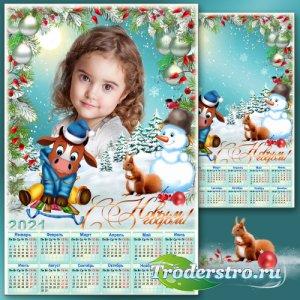 Праздничная рамка для фото с календарём на 2021 год - Новогодние забавы