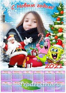 Календарь-рамка на 2021 год - Новый год с Спанч Бобом