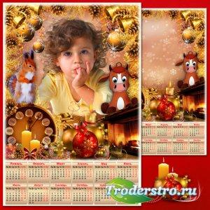 Новогодняя рамка с календарём на 2021 год - Золотые иголки