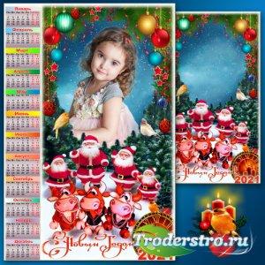 Праздничная рамка для фото с календарём на 2021 год - С Новым Годом доброго ...